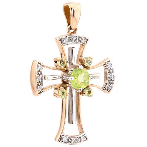 Золотой крестик-подвеска с зеленым хризолитом, фото