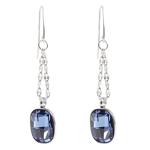 Серьги-цепочки Nomination с подвесками-кристаллами Swarovski синего цвета, фото