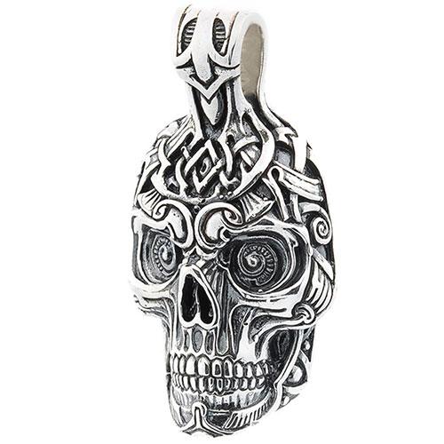 Серебряная подвеска в форме черепа, фото