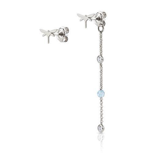 Серебряные серьги Nomination с цирконами и голубыми бусинами жадеита, фото