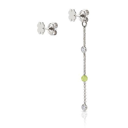 Серебряные серьги Nomination с цирконами и зелеными бусинами жадеита, фото