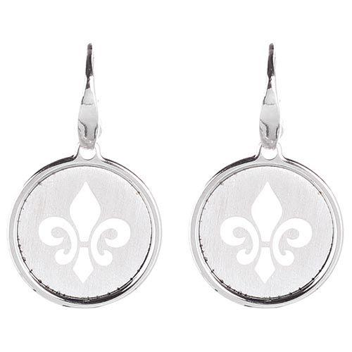 Серебряные серьги с круглой подвеской в виде королевской лилии Nomination, фото