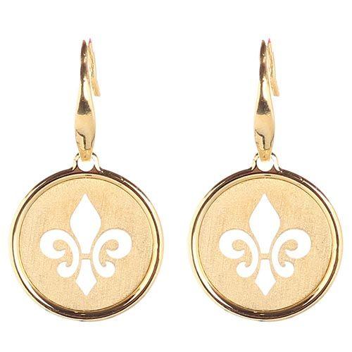 Серьги из позолоченного серебра Nomination с круглой подвеской в виде королевской лилии, фото