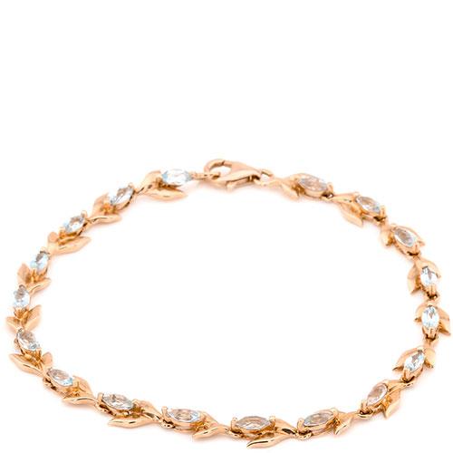 Браслет с голубыми топазами из красного золота, фото