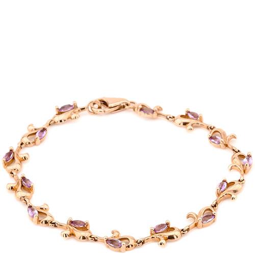Браслет из красного золота с фиолетовыми аметистами, фото
