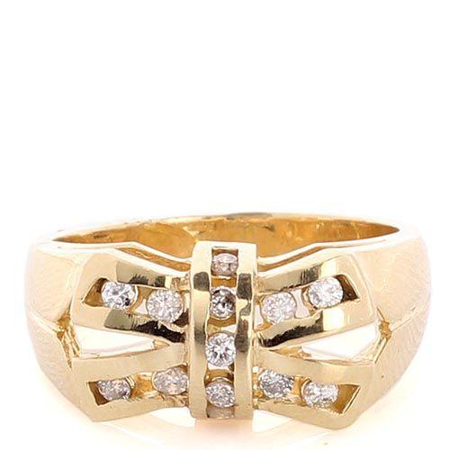 Широкое кольцо из желтого золота инкрустированное бриллиантами в виде банта, фото