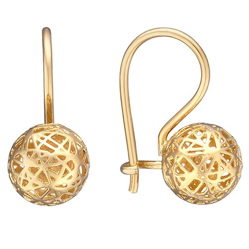 Серьги Sova Merezhyvo из желтого золота с шариками, фото