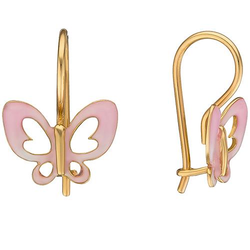 Серьги из желтого золота Sova Wonderland с бабочками нежно-розового цвета, фото