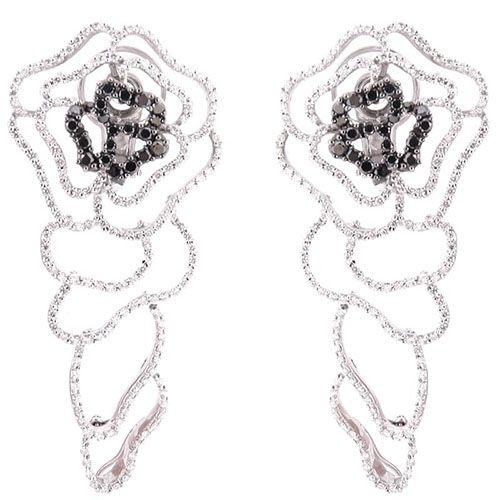 Крупные резные серьги Mario Panelli в форме цветков с белыми и черными бриллиантами, фото