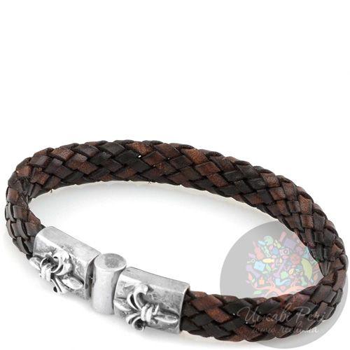 Мужской браслет ElfCraft кожаный плетеный коричневый с серебряными французскими лилиями , фото