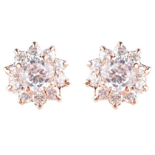 Серьги-гвоздики золотистые с переливающимися и сверкающими кристаллами, фото