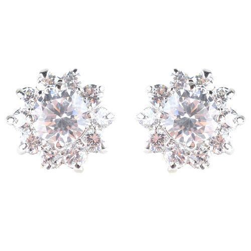 Серьги-гвоздики серебристые с переливающимися и сверкающими кристаллами, фото