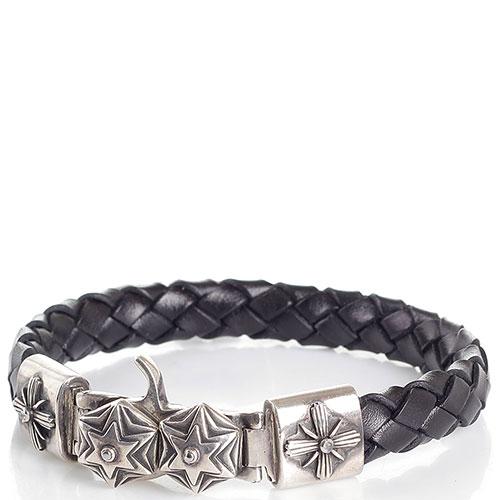 Плетеный кожаный браслет коричневого цвета ElfCraft с серебряными символами в виде шестиконечных звезд, фото