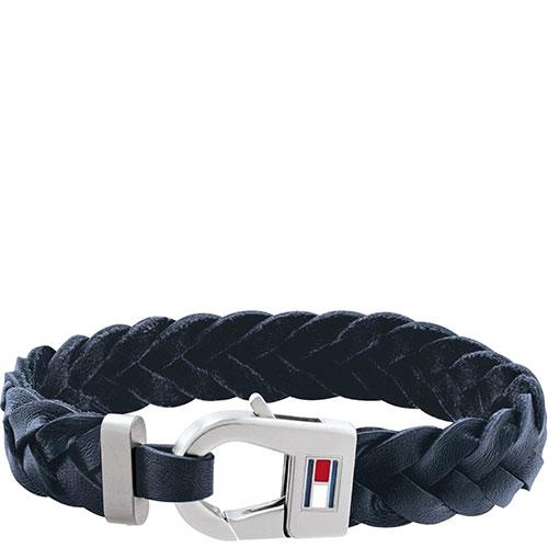 Мужской браслет Tommy Hilfiger из кожи синего цвета, фото