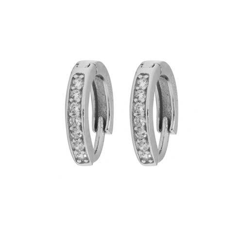 Серьги Aran Jewels серебряные в виде колец с цирконами, фото