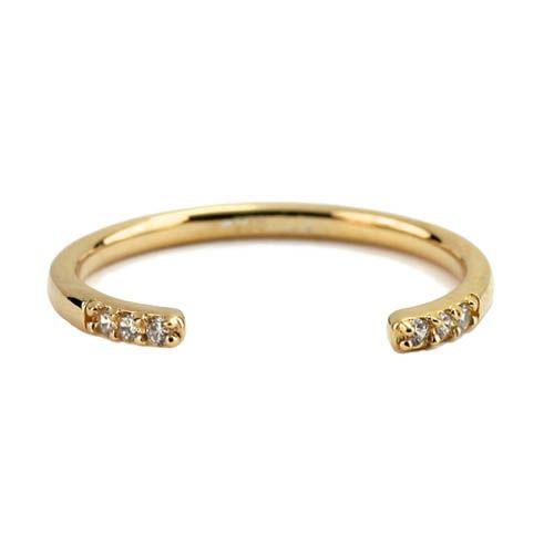 Кольцо Aran Jewels разомкнутое с позолотой и цирконами, фото