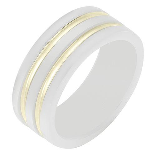 Кольцо Sova из желтого золота с эмалью белого цвета, фото