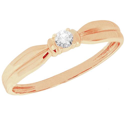 Рельефное колечко из красного золота Sovissimo с бриллиантом 110097220101, фото