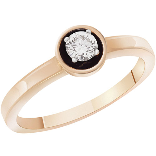 Кольцо из красного золота с бриллиантом Sovissimo 119039120101, фото