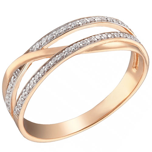 Кольцо из красного золота Sovissimo с фианитами 110148410101, фото