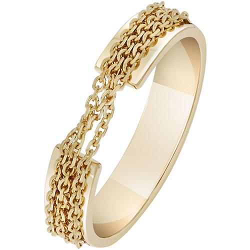 Кольцо SOVA из желтого золота с оригинальным декором из цепочек, фото