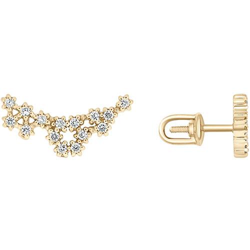 Золотые серьги-пусеты SOVA в виде цветочков с фианитами, фото
