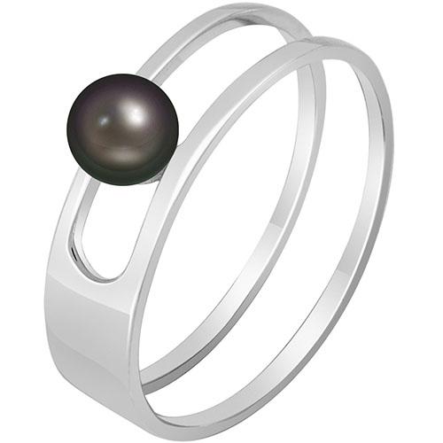 Кольцо из белого золота SOVA с черной жемчужиной, фото