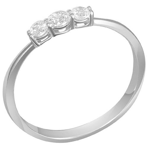 Кольцо из белого золота с тремя бриллиантами Sovissimo 119062520201, фото