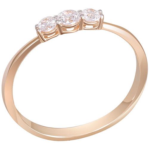 Кольцо из красного золота с тремя бриллиантами Sovissimo 119062520101, фото