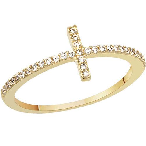 Кольцо с фианитами SOVA из желтого золота, фото