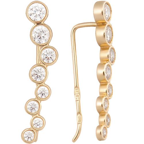 Серьги из желотого золота SOVA с фианитами, фото