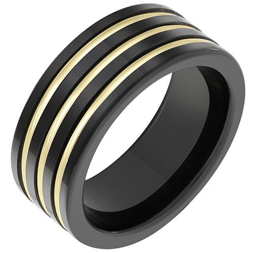 Кольцо Sova из желтого золота и керамики 110208510301, фото