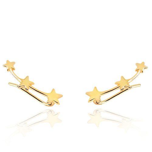 Серебряные серьги Aran Jewels в позолоте со звездочками, фото