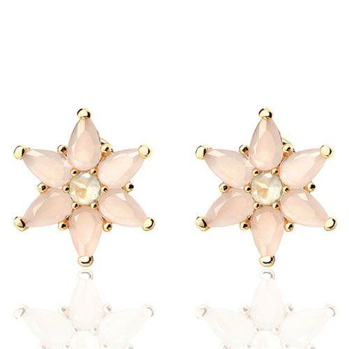 Серьги-пуссеты Aran Jewels позолоченные в форме цветка из розовых камней, фото