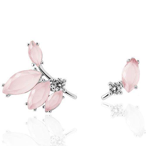 Серебряные серьги-пуссеты Aran Jewels в форме веточки с розовыми камнями, фото