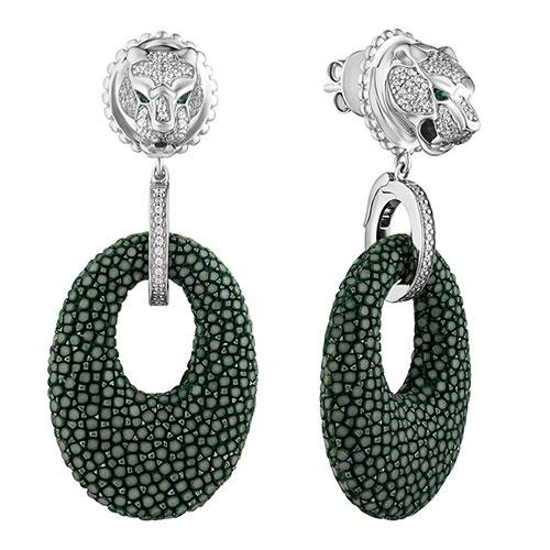 Серьги-подвески Poche Jaguar темно-зеленого цвета, фото