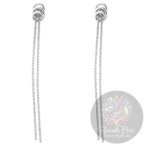 Серьги Misis серебряные с двумя свисающими цепочками, фото