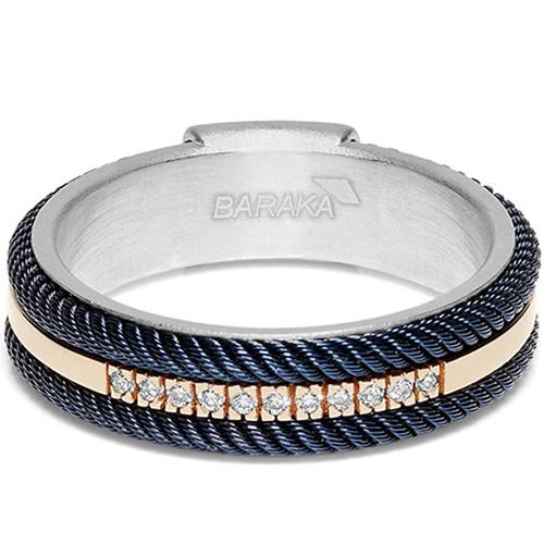 Кольцо Baraka 316L из серебра и стали синего цвета, фото