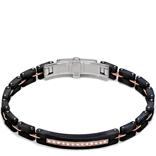 Мужской черный браслет Baraka Mosaiko с бриллиантами белого цвета, фото