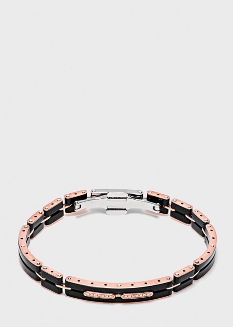 Мужской браслет Baraka Mosaiko из розового золота и черной керамики, фото