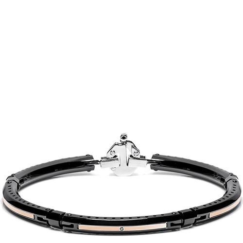 Черный тонкий браслет Baraka Discovery с белым бриллиантом по центру, фото