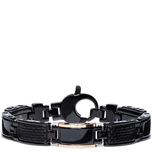 Мужской браслет Baraka Black-one из нержавеющей стали с элементами розового золота, фото