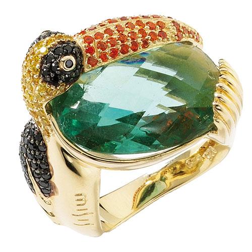 Крупный перстень Misis Jungle Tiara с цветными камнями, фото