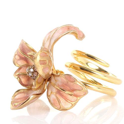 Двойное кольцо Misis Gemina с крупным цветком ириса, фото