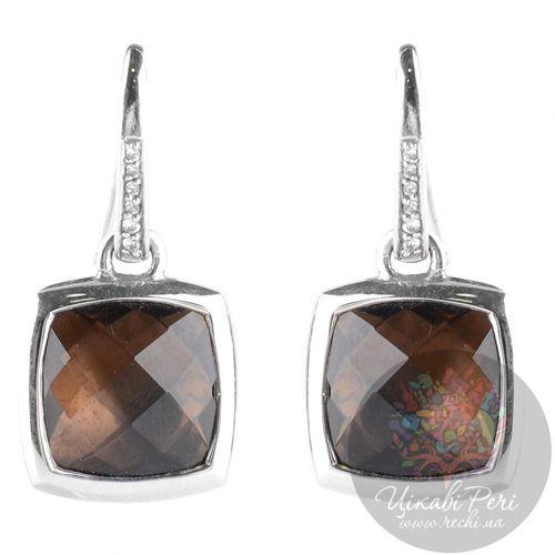 Серебряные серьги Viventy с коричневыми раухтопазами, фото