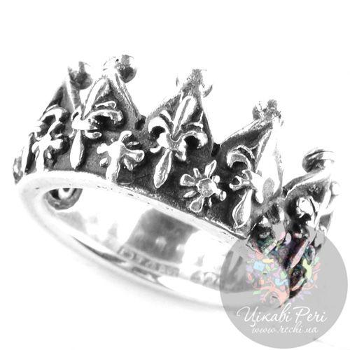 Серебряное кольцо-корона ElfCraft с рельефными французскими лилиями, фото