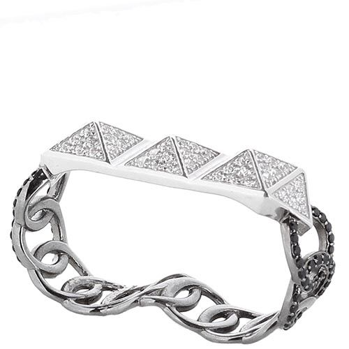 Серебряный браслет покрытый родием APM Monaco с деталями в форме пирамид с цирконами, фото