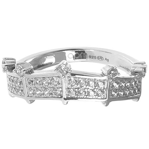 Серебряное кольцо-корона APM Monaco с цирконами, фото