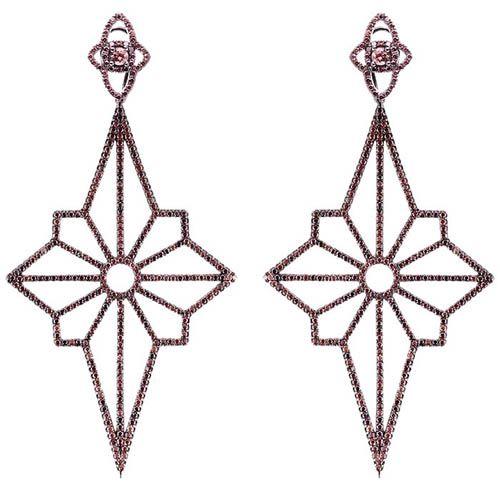 Серьги Alibi черного цвета в виде звезд с цирконами цвета шампань, фото