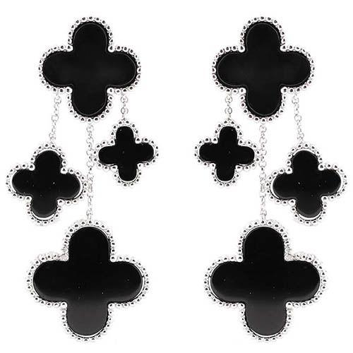 Серьги Alibi серебряные с подвесками в виде четырехлистных цветков, фото